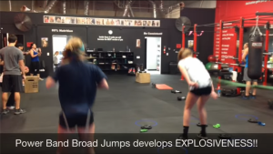 Power band broad jumps develops explosiveness for volleyball players
